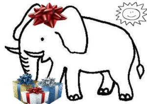 white elephant with gifts
